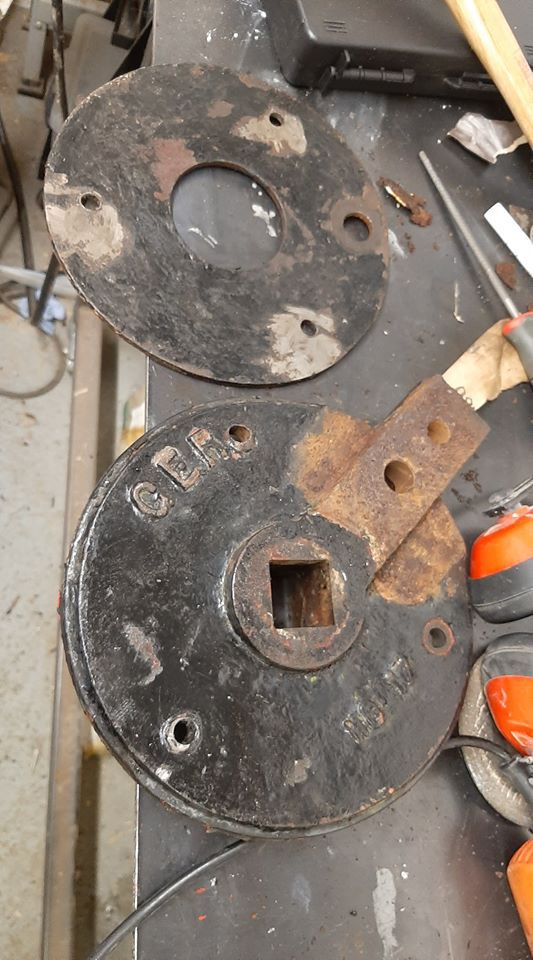 Mounting plate removed from the old signal arm prior to refurbishment