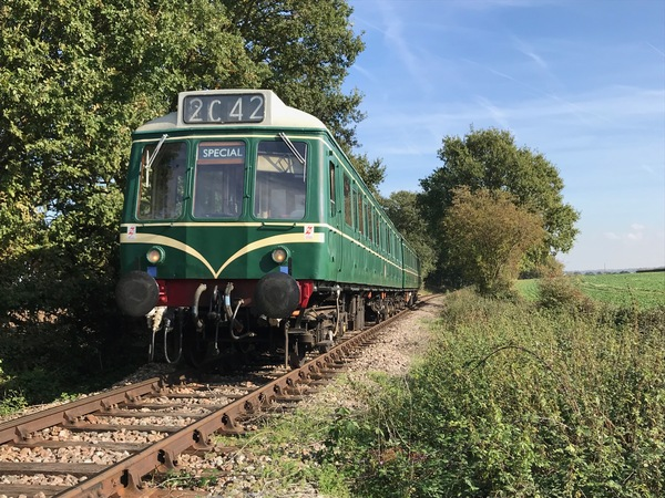 Diesel Multiple Unit in the Essex countryside