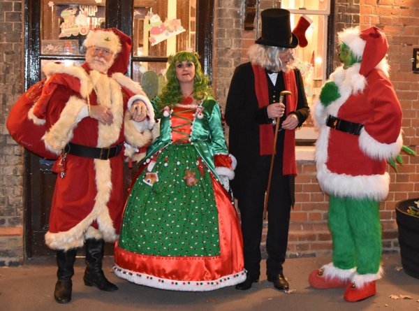 Santa, Mrs Christmas, Scrooge and The Grinch